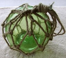 Pottery Barn Large Rope Encased Green Glass Buoy ~ NEW ~ Nautical Ocean Beach