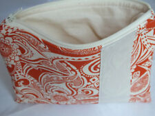 Orange Flowered Zippered Bag Cosmetic Makeup Change Purse Pouch Pen Organizer