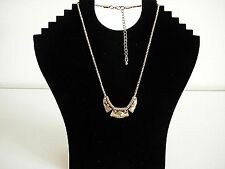 Fashion Diamante Lined Spiked & Swirls Plates Gold Tone Pendant Necklace