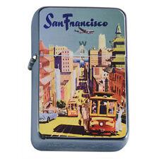 Silver Flip Top Oil Lighter Vintage Poster D 25 San Francisco Cable Car Travel
