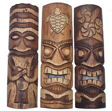 3 masques muraux im Tiki aspect 50cm mural en bois Salon Feng Shui Maui Hawaii