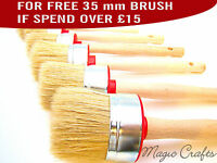 60 35 30 PAINT BRUSH SET 3 SHABBY CHIC CHALK PAINT WAX PURE BRISTLE ROUND BRUSH