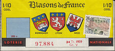 "BILLET LOTERIE NATIONALE  ""BLASONS DE FRANCE 1959"""