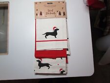 Set of 3 Christmas Dachshund  Kitchen Tea Towels