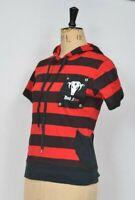 L Red & Black Stripe hoody Vest Top Emo Punk Black Sheep UK 14