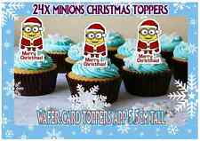 24 Minions Despicable Me Merry Christmas Party STAND UPS Edible Cup Cake Toppers
