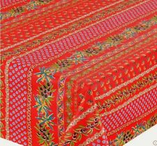 """LE CLUNY, OLIVES & MIMOSAS, RED, PROVENCE COATED COTTON TABLECLOTH, 60"""" x 120"""""""