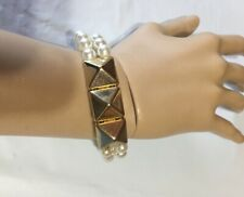 Goldtoned Pyramid/Spike Faux Pearl Stretch Statement Bracelet 2 Strands Nice 7""