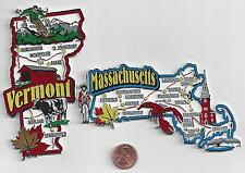 MASSACHUSETTS  and VERMONT STATE  MAP JUMBO MAGNETS  7 COLOR  NEW     2 MAGNETS