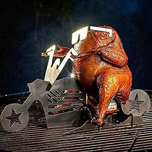 BBQ Beer Can Chicken Motorcycle Roaster Holder Standing Chicken Grill Rack UK