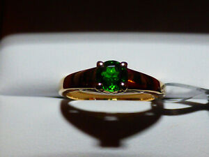 Superb Chrome Diopside Solitaire Ring