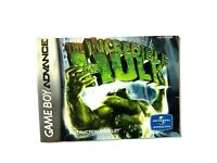 The Incredible Hulk NINTENDO GAMEBOY ADVANCE GBA Instruction Manual Booklet Book