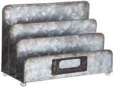 Farmhouse Galvanized Desk Top Metal File Storage Organizer 6x3 Document Sorter
