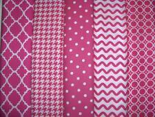 10 FQs Hot Pink Polka Dots Circles Rick Rack Cotton Quilt Fabric Fat Quarters