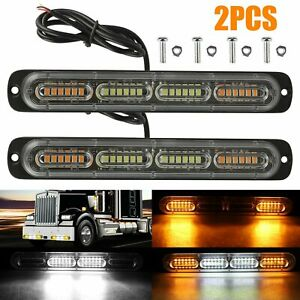 2PCS Amber/White 24LED Car Truck Emergency Warning Hazard Flash Strobe Light Bar