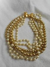 Carolee 6 strand round gold bead & faux pearl necklace / tied bow clasp- 4.5 oz