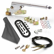 Floor Mnt E-Brake HandleGray Boot, Blk Ring, Cable Kit, GM Clevis truck muscle
