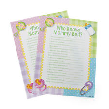 24 WHO KNOWS MOMMY BEST Baby Shower Activity Game PARTY DECOR BOY GIRL PINK BLUE