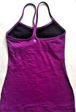 Lululemon Power Y Tank Top w Pads Power Purple w Stitching size 4 Euc Yoga Gym