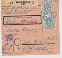 BUND, Mi. 134 senkr. Paar u.a., Bad Bramstedt/Holst., 3.1.53, Paketkarte