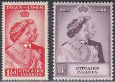 Pitcairn Islands 1949 KGVI Royal Silver Wedding 1½d, 10sh Mint SG11-12 cat £41