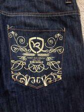 ROCA Wear Men's Jeans Embroidered Pockets NEW 40x34 Dark Wash