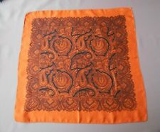 English Vintage Silk Paisley Pocket Square Pochette /Neck Scarf In Orange &Black