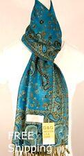 DG Women's Pashmina Scarf Shawl-Paisley,Black Turquoise-Silk Cashmere-Soft*011