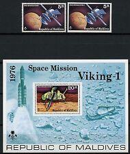 Space Raumfahrt 1976 Malediven Maldive Viking Mars 678 A/B + Block 41 MNH/955