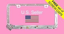 Pink Bling Glitter Crystal RhineStone Chrome Metal License Plate Frame HEARTS