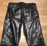 "fette Herren- Biker - LEDERJEANS / Schnür- Lederhose in schwarz ca. W36"" /L29"""