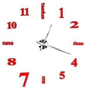 DIY Large Wall Clock Big Watch Decal 3D Stickers Roman Numerals Mute Wall Clock