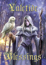 Winter Owl Greetings Card by Anne Stokes yuletide blessings