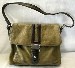 Tignanello Hobo Shoulder Bag Weathered Green Brown Leather Purse Handbag Retro