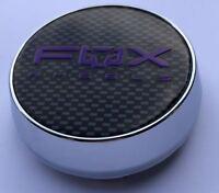 4 X FOX RACING FX004 ALLOY WHEEL CENTRE CAPS PLUS BADGES (CARBON ,PURPLE) (63MM)