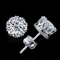2X Sliver Plated Fashion Jewelry 8MM Round Cubic Zirconia Simple Stud Earring ~