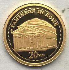Vanuatu 2009 Pantheon Rome 20 Vatu Gold Coin,Proof
