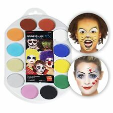 Kids Adult Carnival Make up Facepaint Set 12 Colours 4 Brush 2 Sponges How Book