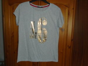 1 Light grey marl t-shirt style top, gold Love No 6 design, GEORGE, size 12