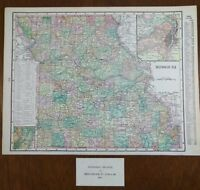 "Vintage 1902 MISSOURI Map 14""x11"" ~ Old Antique Original JEFFERSON CITY ST LOUIS"