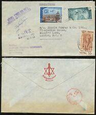 NEPAL 1969 REGIST.AIRMAIL to GB...HM THE KING EMBOSSED MONOGRAM ENVELOPE L1