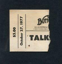 1977 Talking Heads Concert Ticket Stub Bottom Line David Byrne Psycho Killer