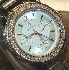 Bulova (98N100) Preowned Two Tone Rose Gold & Silver Women's Wrist Watch *Bling*