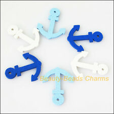 30Pcs Mixed Craft Wooden Navigation Anchor Charms Pendants 20x24.5mm