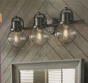 Allen + Roth Finley 3-Light Raw Iron Finish Clear Glass Shades Vanity Light