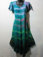 Dress Fits 1X 2X 3X 4X Plus Green Pink Lace Sleeve Sundress Long Tunic NWT G802