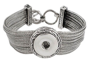 Silver Multi Chain 20mm Snap Charm Button Bracelet 9 inch For Ginger Snaps