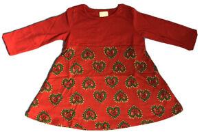 Hanna Andersson Playdress Long Sleeve Dress Red Heart 12-18 months