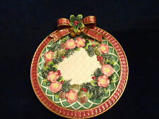 Fitz & Floyd Classics Christmas Wreath Canape Accent Plate Red Bow & Flowers