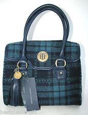 NEW-TOMMY HILFIGER NAVY BLUE+TEAL PLAID FLAP SATCHEL HAND BAG,PURSE MSRP $98